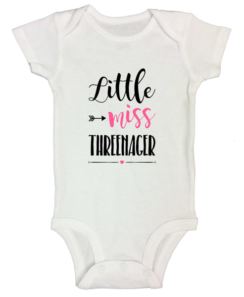 Little Miss Threenager Funny Kids bodysuit Funny Shirt Short Sleeve 0-3 Months / White