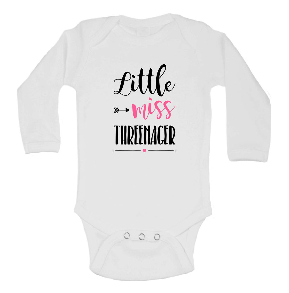 Little Miss Threenager Funny Kids Onesie Funny Shirt Long Sleeve 0-3 Months / White