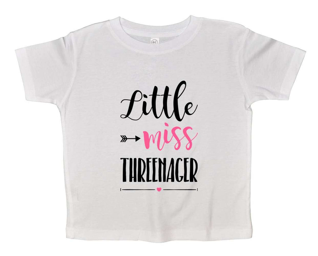 Little Miss Threenager Funny Kids bodysuit Funny Shirt 2T White Shirt / White