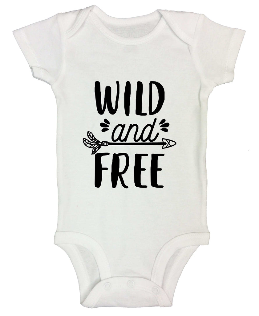 Wild And Free Funny Kids bodysuit Funny Shirt Short Sleeve 0-3 Months
