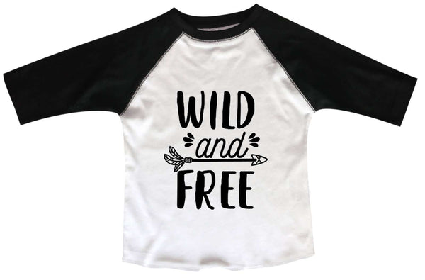 Wild And Free BOYS OR GIRLS BASEBALL 3/4 SLEEVE RAGLAN - VERY SOFT TRENDY SHIRT B973 Funny Shirt 2T Toddler / Black