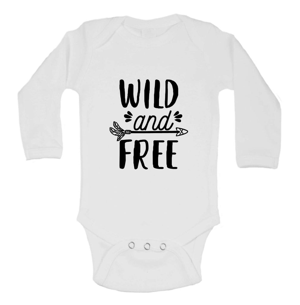 Wild And Free Funny Kids bodysuit Funny Shirt Long Sleeve 0-3 Months