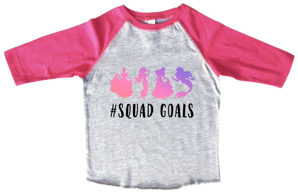 Squad Goals BOYS OR GIRLS BASEBALL 3/4 SLEEVE RAGLAN - VERY SOFT TRENDY SHIRT B977 Funny Shirt 2T Toddler / Pink