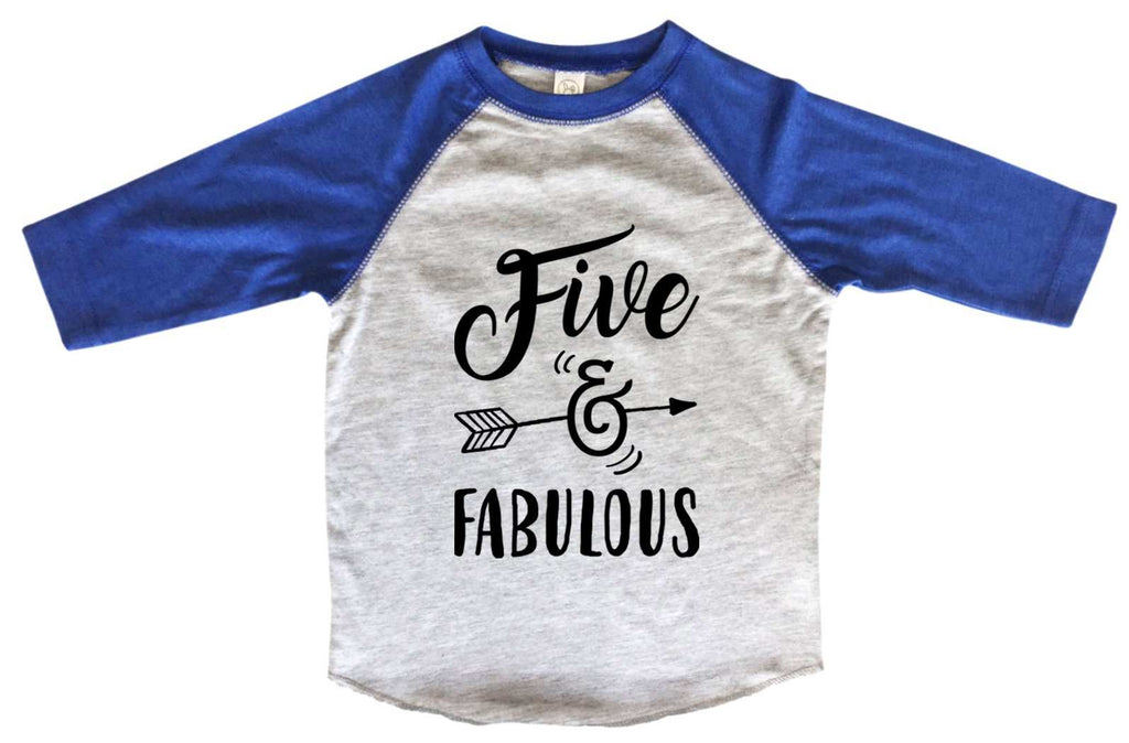 Five And Fabulous BOYS OR GIRLS BASEBALL 3/4 SLEEVE RAGLAN - VERY SOFT TRENDY SHIRT B979 Funny Shirt 2T Toddler / Blue