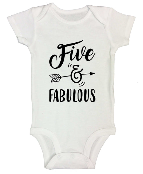 Five And Fabulous Funny Kids bodysuit Funny Shirt Short Sleeve 0-3 Months