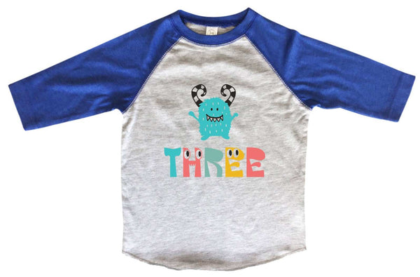 Three BOYS OR GIRLS BASEBALL 3/4 SLEEVE RAGLAN - VERY SOFT TRENDY SHIRT B980 Funny Shirt