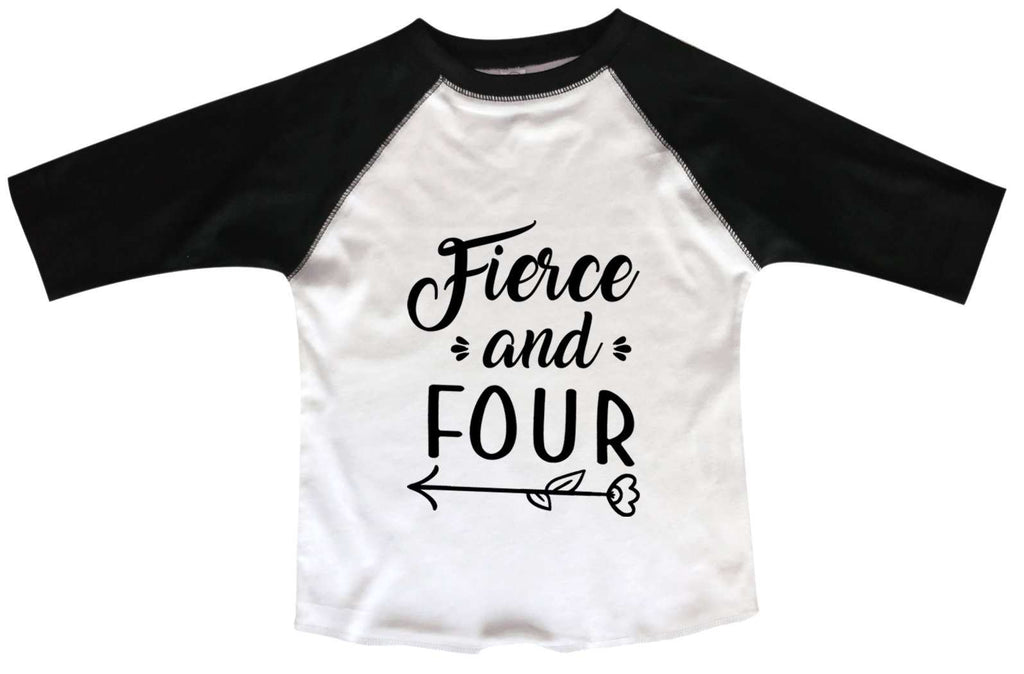 Fierce And Four BOYS OR GIRLS BASEBALL 3/4 SLEEVE RAGLAN - VERY SOFT TRENDY SHIRT B982 Funny Shirt 2T Toddler / Black