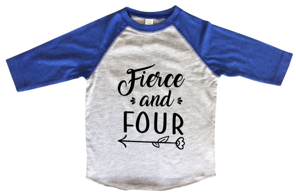 Fierce And Four BOYS OR GIRLS BASEBALL 3/4 SLEEVE RAGLAN - VERY SOFT TRENDY SHIRT B982 Funny Shirt 2T Toddler / Blue