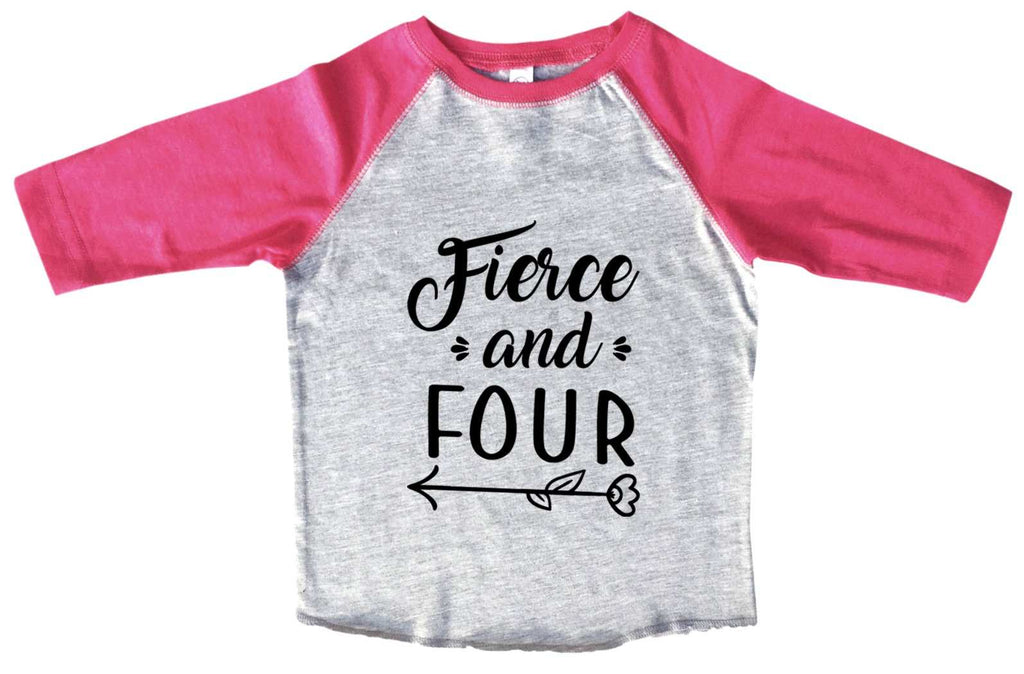 Fierce And Four BOYS OR GIRLS BASEBALL 3/4 SLEEVE RAGLAN - VERY SOFT TRENDY SHIRT B982 Funny Shirt 2T Toddler / Pink