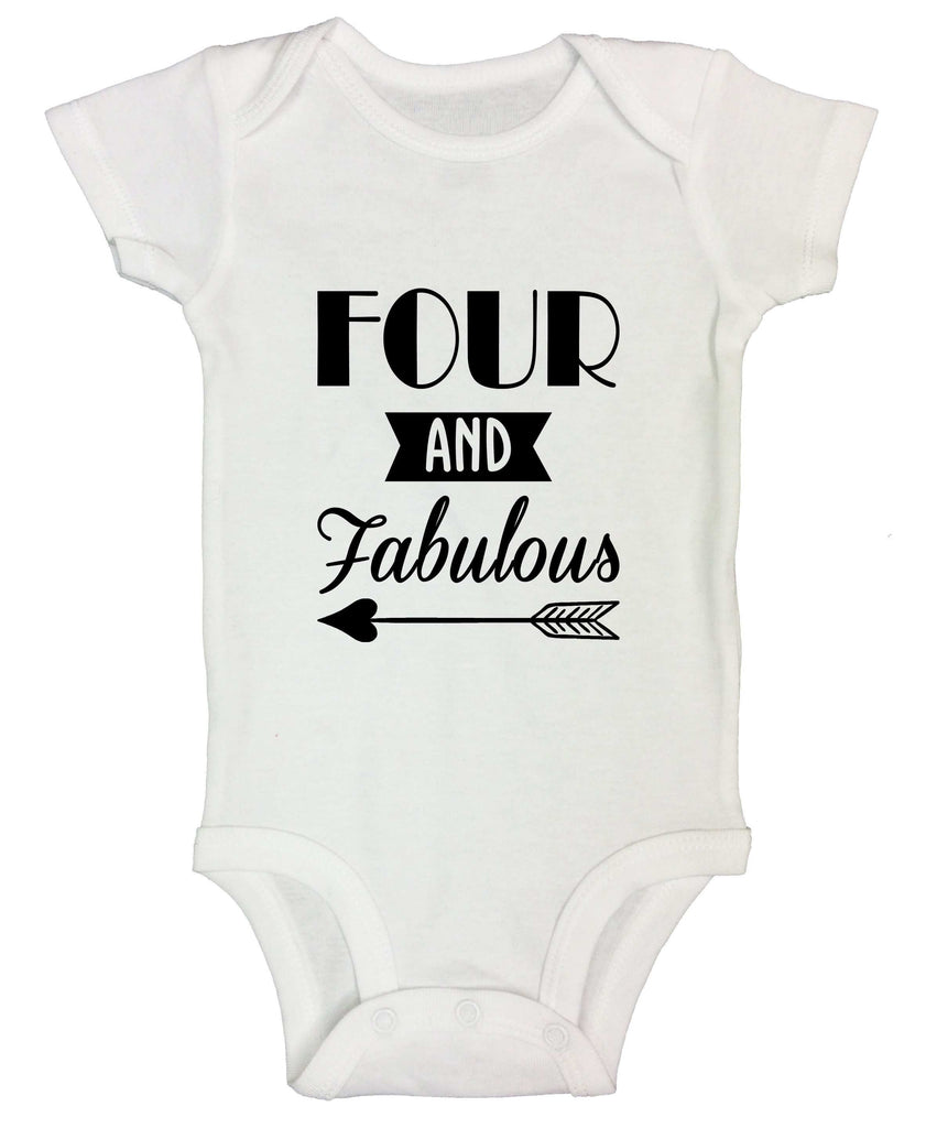 Four And Faboulous Funny Kids bodysuit Funny Shirt Short Sleeve 3-6 Months