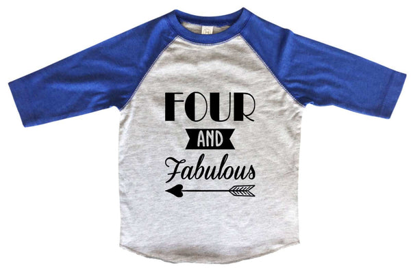 Four And Faboulous BOYS OR GIRLS BASEBALL 3/4 SLEEVE RAGLAN - VERY SOFT TRENDY SHIRT B983 Funny Shirt 2T Toddler / Blue