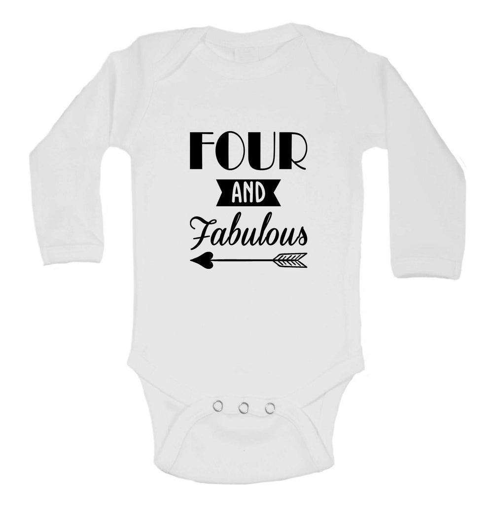 Four And Faboulous Funny Kids bodysuit Funny Shirt Long Sleeve 0-3 Months