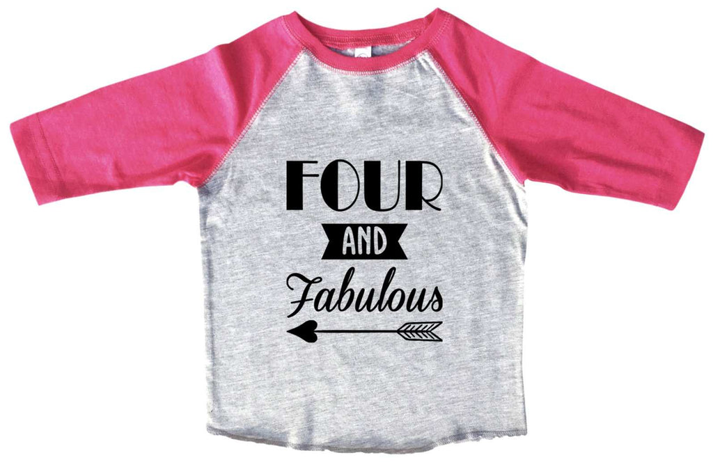 Four And Faboulous BOYS OR GIRLS BASEBALL 3/4 SLEEVE RAGLAN - VERY SOFT TRENDY SHIRT B983 Funny Shirt 2T Toddler / Pink