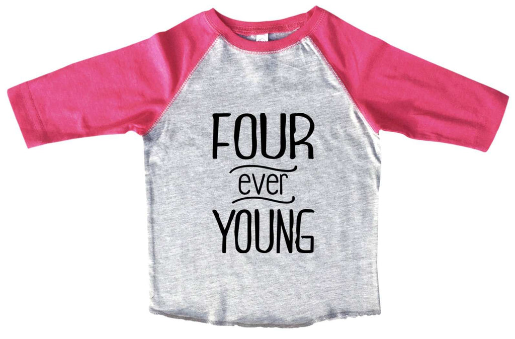 Four Ever Young BOYS OR GIRLS BASEBALL 3/4 SLEEVE RAGLAN - VERY SOFT TRENDY SHIRT B984 Funny Shirt 2T Toddler / Pink