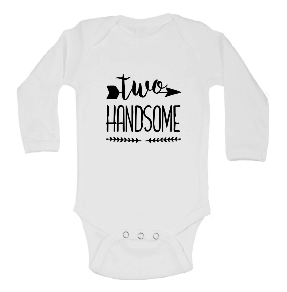 Two Handsome Funny Kids bodysuit Funny Shirt Long Sleeve 0-3 Months