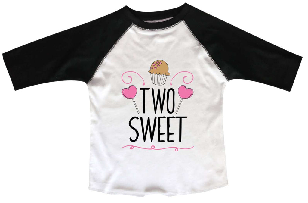Two Sweet BOYS OR GIRLS BASEBALL 3/4 SLEEVE RAGLAN - VERY SOFT TRENDY SHIRT B989 Funny Shirt 2T Toddler / Black