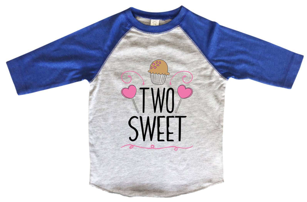 Two Sweet BOYS OR GIRLS BASEBALL 3/4 SLEEVE RAGLAN - VERY SOFT TRENDY SHIRT B989 Funny Shirt 2T Toddler / Blue