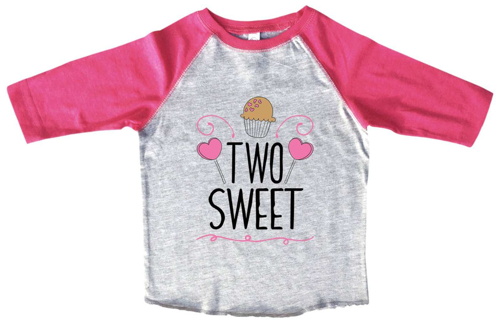 Two Sweet BOYS OR GIRLS BASEBALL 3/4 SLEEVE RAGLAN - VERY SOFT TRENDY SHIRT B989 Funny Shirt 2T Toddler / Pink
