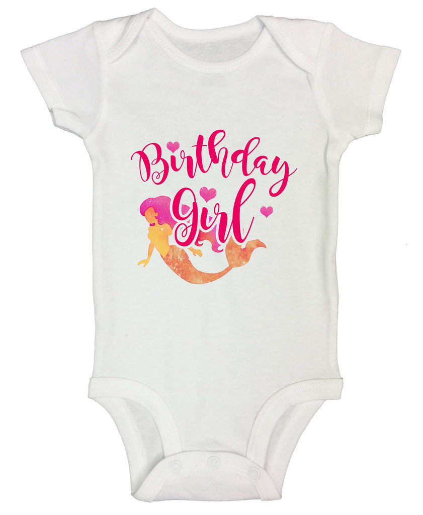 Birthday Girl Mermaid Funny Kids bodysuit Funny Shirt Short Sleeve 0-3 Months