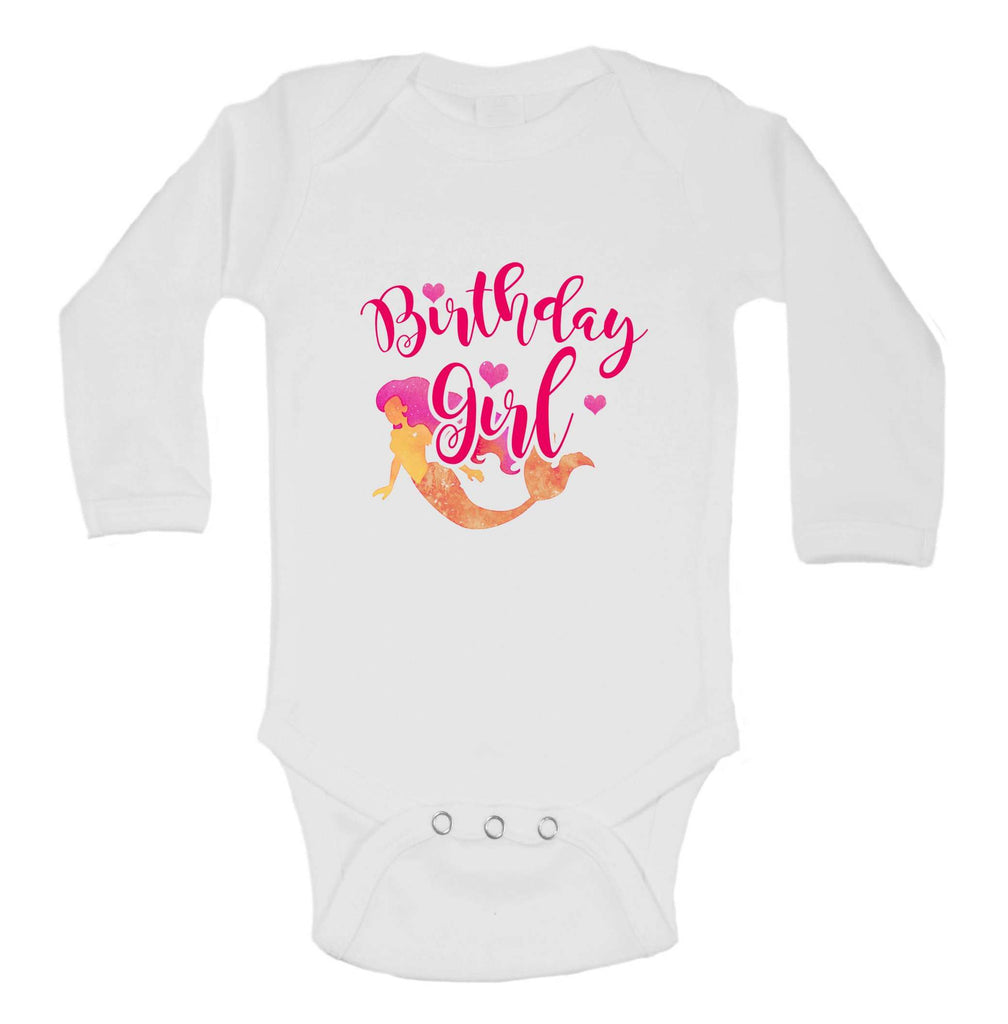 Birthday Girl Mermaid Funny Kids bodysuit Funny Shirt Long Sleeve 0-3 Months