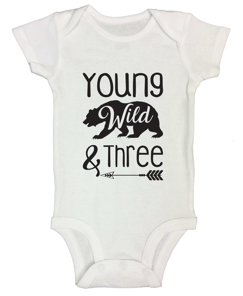 Young Wild And Three Funny Kids bodysuit Funny Shirt Short Sleeve 0-3 Months