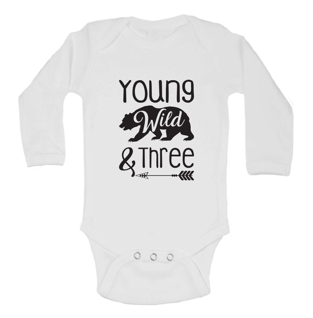 Young Wild And Three Funny Kids bodysuit Funny Shirt Long Sleeve 0-3 Months