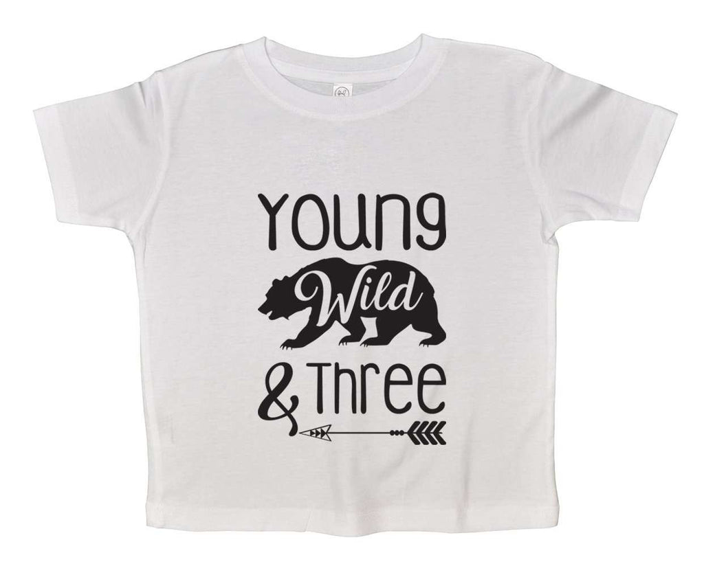 Young Wild And Three Funny Kids bodysuit Funny Shirt 2T White Shirt