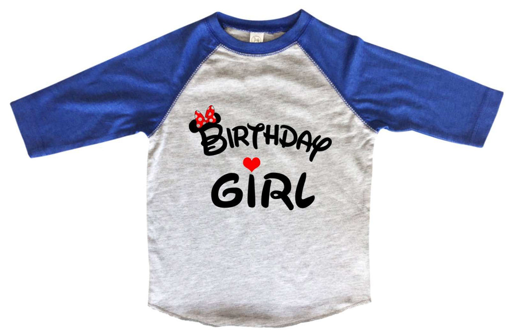 Birthday Girl Disney BOYS OR GIRLS BASEBALL 3/4 SLEEVE RAGLAN - VERY SOFT TRENDY SHIRT B997 Funny Shirt 2T Toddler / Blue