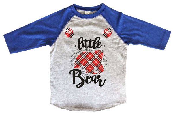Little Bear BOYS OR GIRLS BASEBALL 3/4 SLEEVE RAGLAN - VERY SOFT TRENDY SHIRT B998 Funny Shirt 2T Toddler / Blue