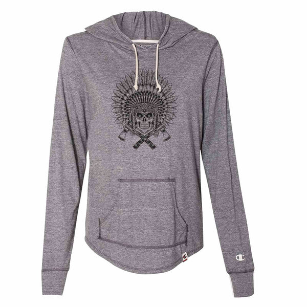 American Indian Chief - Womens Champion Brand Hoodie - Hooded Sweatshirt Funny Shirt Small / Dark Grey