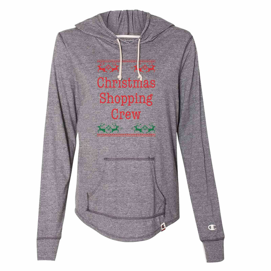 Christmas Shopping Crew - Womens Champion Brand Hoodie - Hooded Sweatshirt Funny Shirt Small / Dark Grey