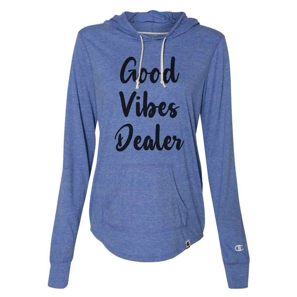 Good Vibes Dealer - Womens Champion Brand Hoodie - Hooded Sweatshirt Funny Shirt Small / Blue