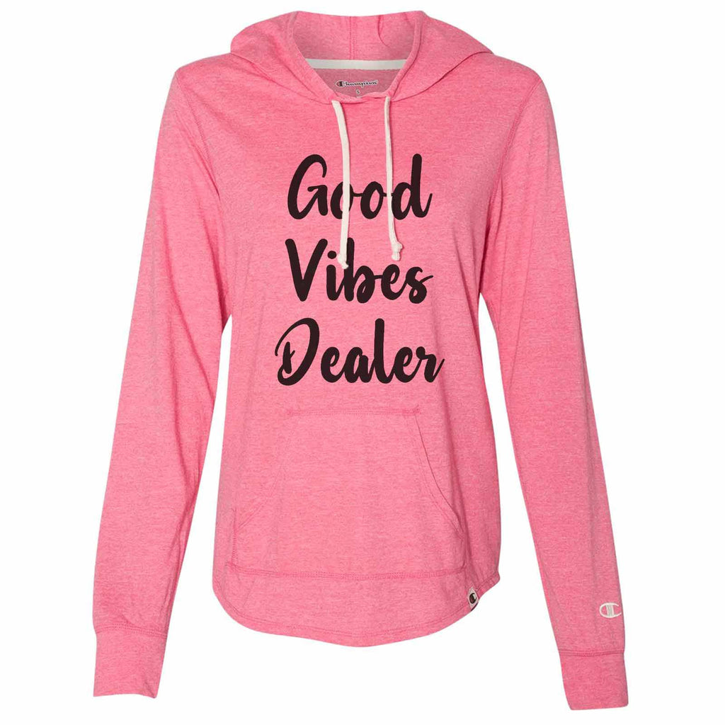 Good Vibes Dealer - Womens Champion Brand Hoodie - Hooded Sweatshirt Funny Shirt Small / Pink