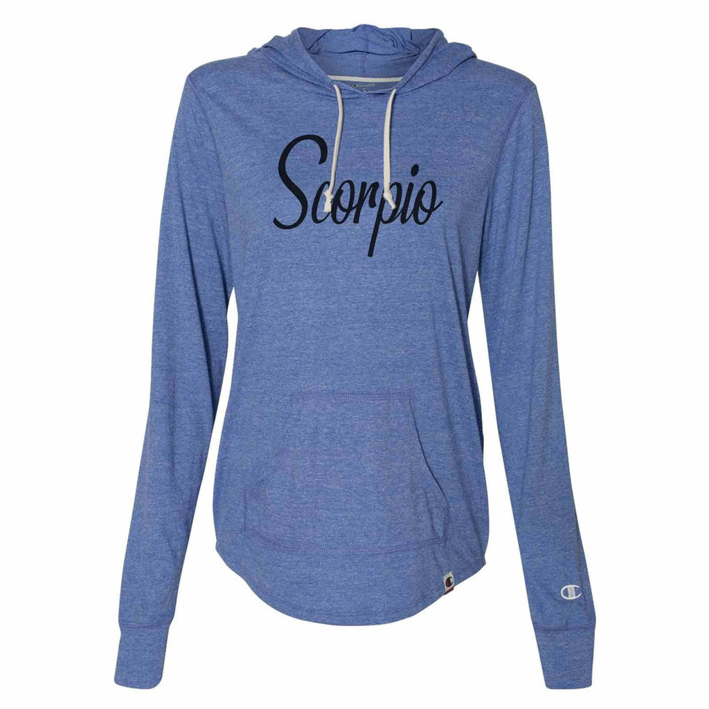 Scorpio - Womens Champion Brand Hoodie - Hooded Sweatshirt Funny Shirt Small / Blue