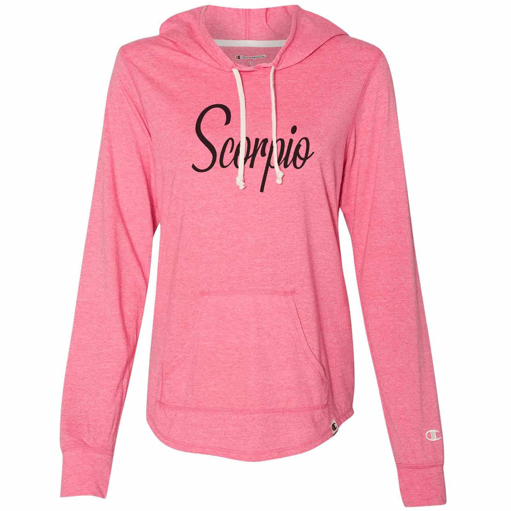 Scorpio - Womens Champion Brand Hoodie - Hooded Sweatshirt Funny Shirt Small / Pink
