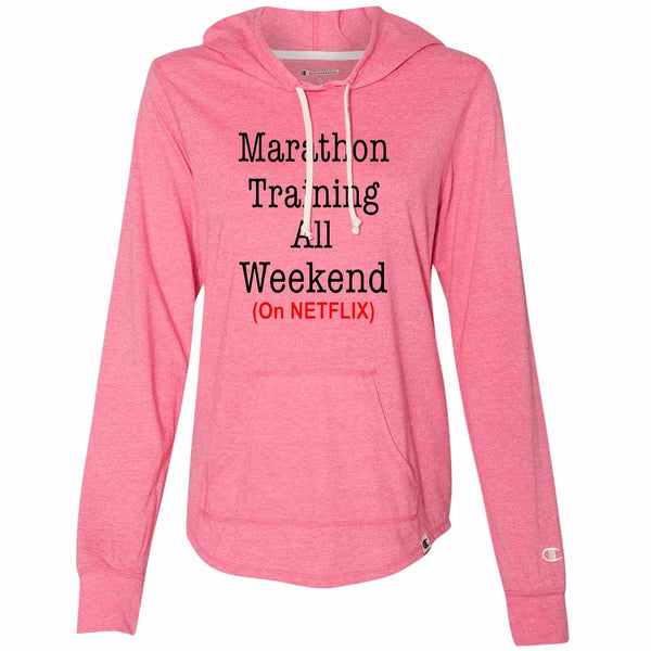 Marathon Training All Weekend (On Netflix) - Womens Champion Brand Hoodie - Hooded Sweatshirt Funny Shirt Small / Pink