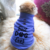 Best Dog Ever Paw Print Cute Tee - Funny Dog T-shirt Vest Fleece - Dog Pet Shirt Funny Shirt Extra Small / Blue