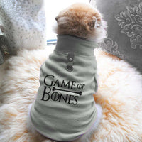 Game Of Bones Paw Print Cute Tee - Funny Dog T-Shirt Vest Fleece - Dog Pet Shirt Funny Shirt Extra Small / Grey