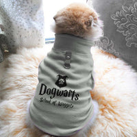 Dogwarts School Of Waggely Paw Print Cute Tee - Funny Dog T-Shirt Vest Fleece - Dog Pet Shirt Funny Shirt Extra Small / Grey