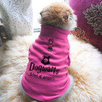 Dogwarts School Of Waggely Paw Print Cute Tee - Funny Dog T-Shirt Vest Fleece - Dog Pet Shirt Funny Shirt Extra Small / Pink