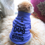 If I Can't Bring My Dog I'm Not Going Paw Print Cute Tee - Funny Dog T-Shirt Vest Fleece Funny Shirt Extra Small / Blue