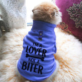 I'm A Lover Not A Biter Paw Print Cute Tee - Funny Dog T-Shirt Vest Fleece - Dog Pet Shirt Funny Shirt Extra Small / Blue
