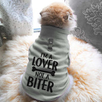 I'm A Lover Not A Biter Paw Print Cute Tee - Funny Dog T-Shirt Vest Fleece - Dog Pet Shirt Funny Shirt Extra Small / Grey