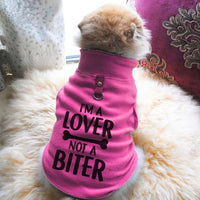 I'm A Lover Not A Biter Paw Print Cute Tee - Funny Dog T-Shirt Vest Fleece - Dog Pet Shirt Funny Shirt Extra Small / Pink