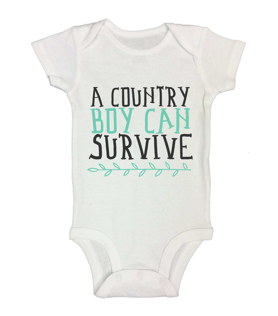 A Country Boy Can Survive Funny Backwood Hillbilly Kids bodysuit Funny Shirt 0-3 Month Short Sleeve / White