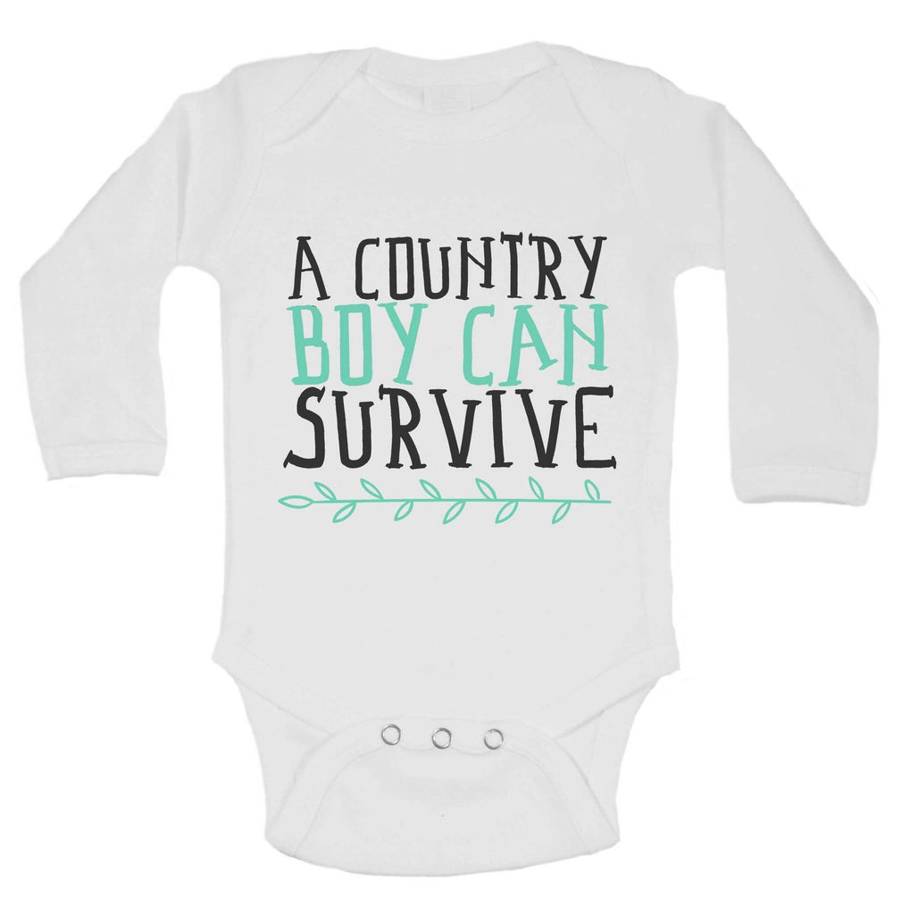 A Country Boy Can Survive Funny Backwood Hillbilly Kids bodysuit Funny Shirt 0-3 Month Long Sleeve / White