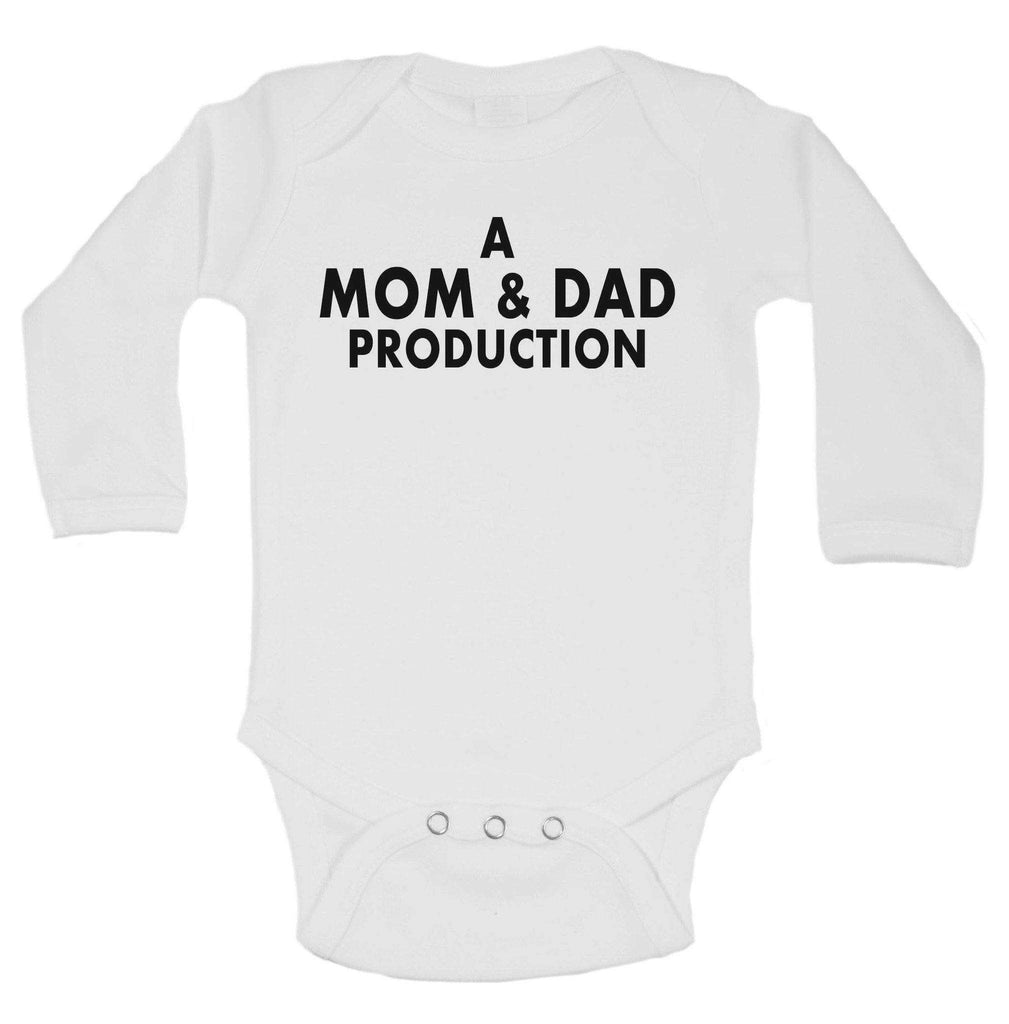 A Mom & Dad Production Funny Kids bodysuit Funny Shirt Long Sleeve 0-3 Months / White