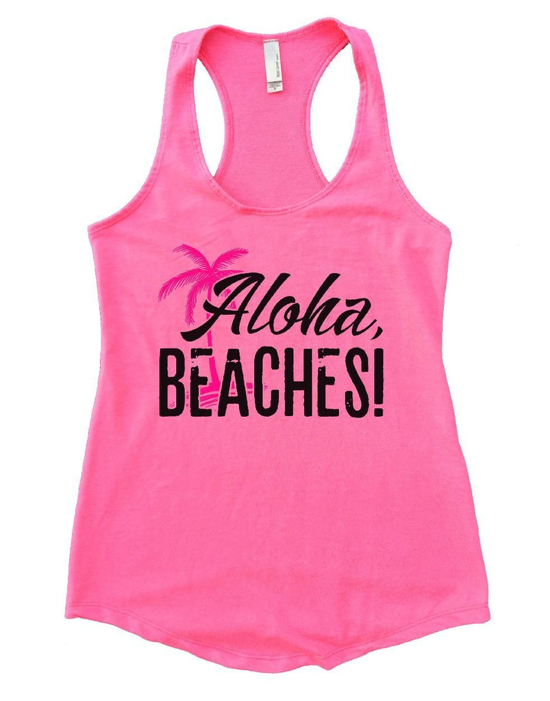 Aloha Beaches Womens Workout Tank Top Funny Shirt Small / Heather Pink