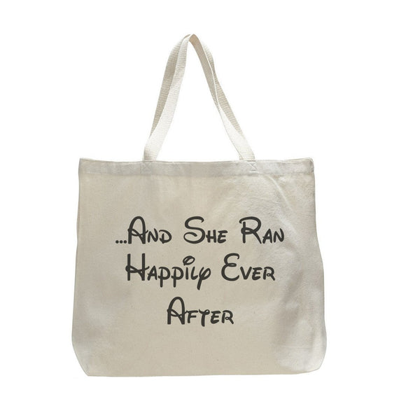 And She Ran Happily Ever After - Trendy Natural Canvas Bag - Funny and Unique - Tote Bag Funny Shirt