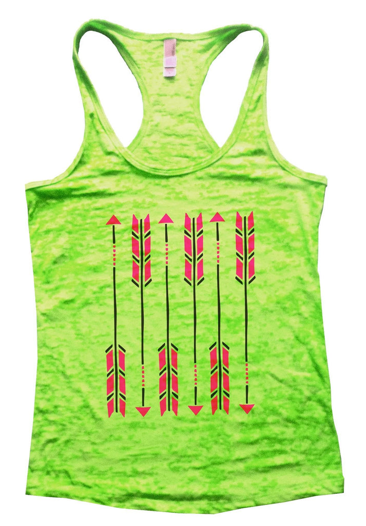 Arrow Burnout Tank Top By Funny Threadz Funny Shirt Small / Neon Green
